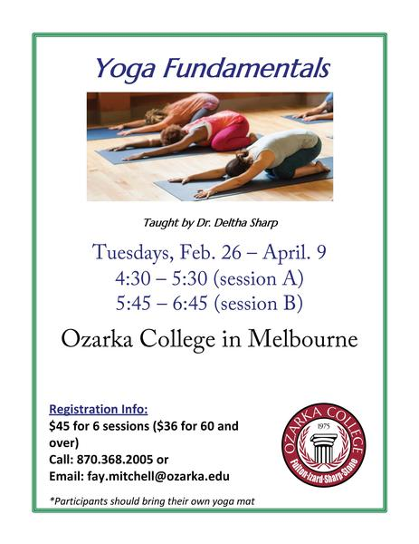Yoga Fundamentals offered at Ozarka College Photo