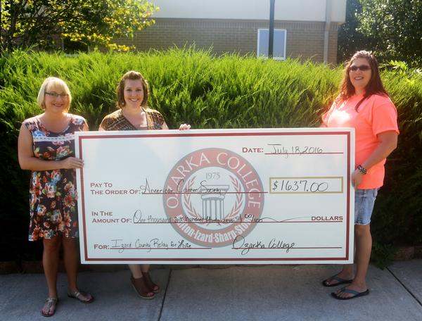 Ozarka College Donates to Relay For Life